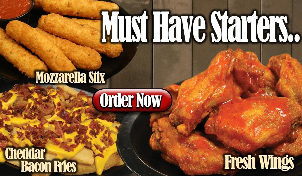 wings, mozzarella sticks, cheddar fries